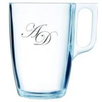 2 stk. glaskrus til varme drikke -lige hank- med eget design /monogram