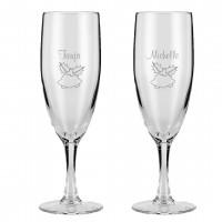 Champagneglas med jule motiv