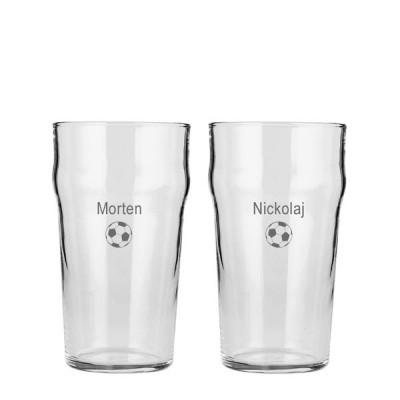 2 stk. Pint glas med gravering