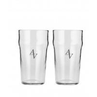 2 stk. Half pint glas med eget design/monogram