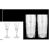 2 stk. Snapseglas og 2 stk. Willi Becher