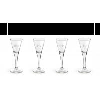 4 stk. Snapseglas med gravering