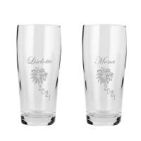 øl/vandglas med nytårsmotiv