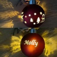 8 cm  LED glas julekugle med gravering