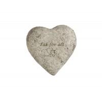 Hjerteformet cementsten med gravering