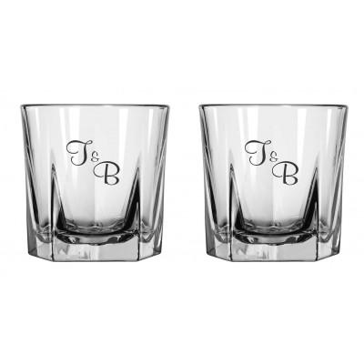 2 glas m. 5-kantet bund med eget design/monogram