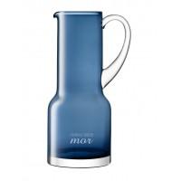 Blå glaskande med gravering