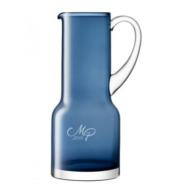 Blå glaskande med eget design/monogran