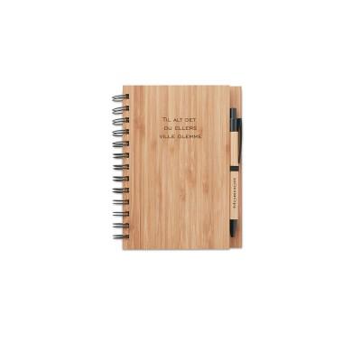 Bambus notesbog med gravering