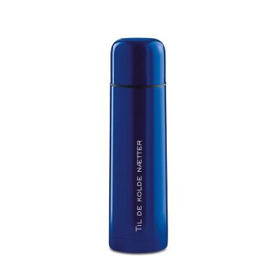 Blå termoflaske med gravering