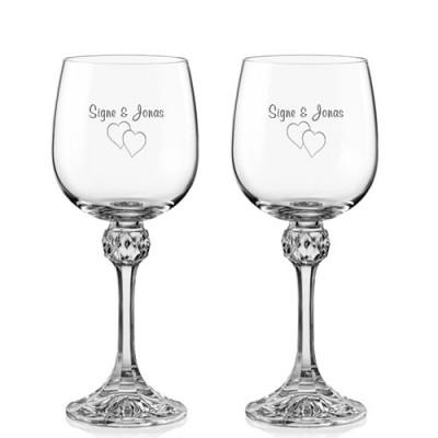 2 stk. Julia hvidvinsglas med gravering