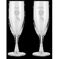 Champagneglas med eget design/monogram som bordkort