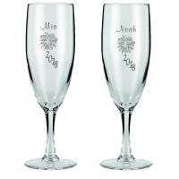 Champagneglas med nytårs motiv