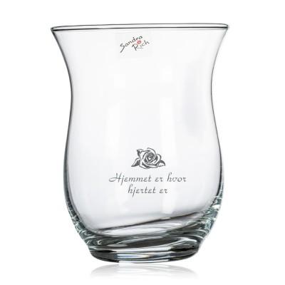 Vase a la hurricane med gravering