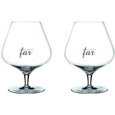 2 stk. Store Spiegelau Hybrid cognacglas med gravering