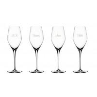 4 stk. Prosecco glas med gravering