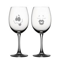 """2 stk. Bordeaux med """"Emoji"""" gravering"""