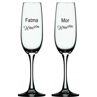 2 stk. Champagne Flûte med eget design/monogram