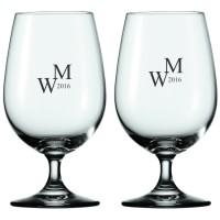 2 stk. Soiree vand/ølglas på fod med eget design/monogram