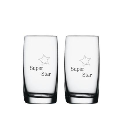 2 stk. Soiree vand-/ølglas med eget design/monogram