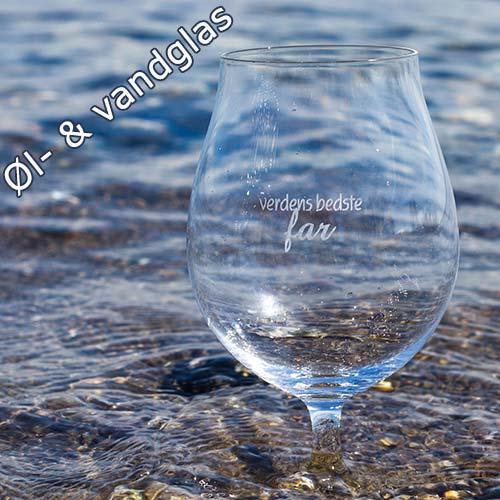 Oel og vandglas med gravering